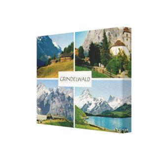 Vintage Switzerland, Grindelwald, Jungfrau Canvas Print
