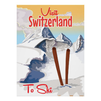 Vintage Switzerland Ski travel poster