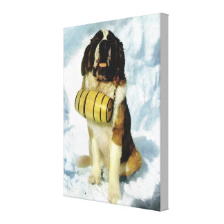 Vintage Switzerland, St Bernhard dog with a brandy Canvas Print