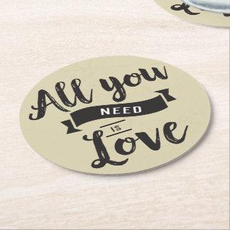 Vintage Tan & Black Wedding Party Bridal Shower Round Paper Coaster