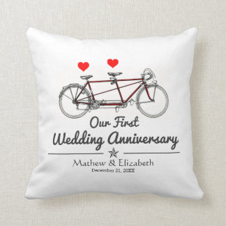 Vintage Tandem Bicycle Custom Wedding Anniversary Throw Pillow