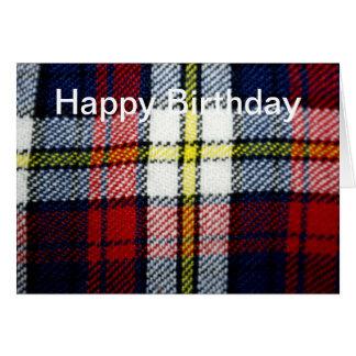 Vintage Tartan Fabric Happy Birthday Card