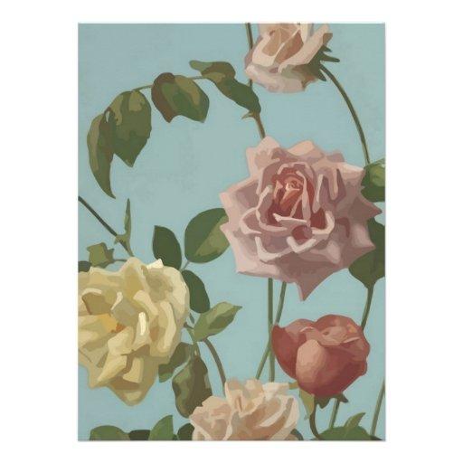 Vintage Tea Rose and Blush Roses Invitation