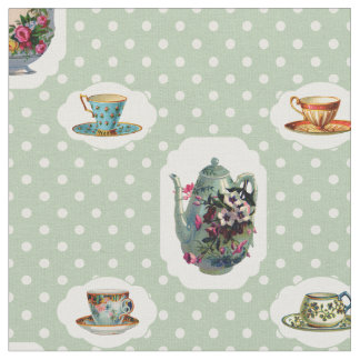Vintage Teacups and Polka Dots Fabric