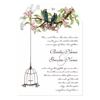 Vintage Teal Birds with Bird Cage & Pink Blooms Card