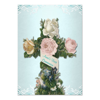 Vintage Teal Blue and Pink First Communion Card