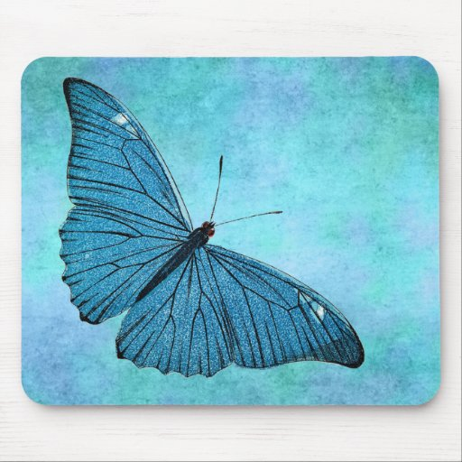 Vintage Teal Blue Butterfly 1800s Illustration Mouse Pad