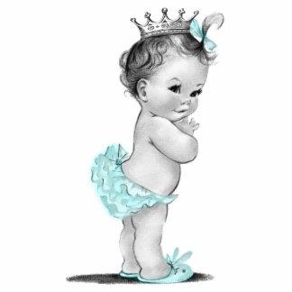 Vintage Teal Blue Princess Baby Girl Shower Standing Photo Sculpture