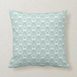 Vintage Teal Damask Pattern Cushion