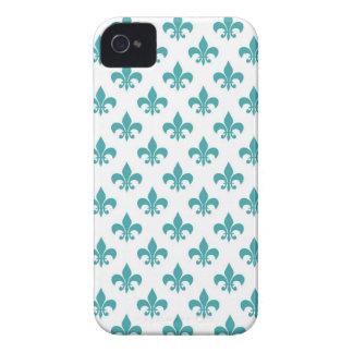 Vintage teal fleur de lis pattern Case-Mate iPhone 4 case