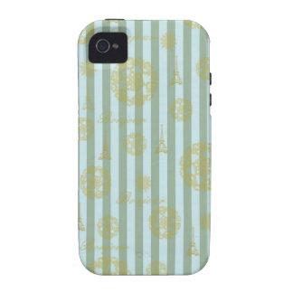 Vintage Teal Stripes Gold French Damask Pattern iPhone 4/4S Case