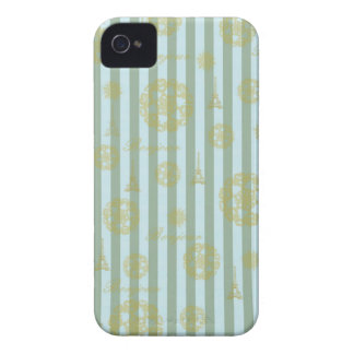 Vintage Teal Stripes Gold French Damask Pattern iPhone 4 Cover