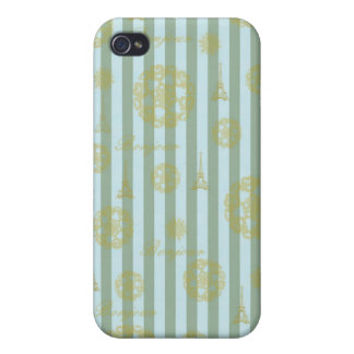 Vintage Teal Stripes Gold French Damask Pattern iPhone 4 Covers