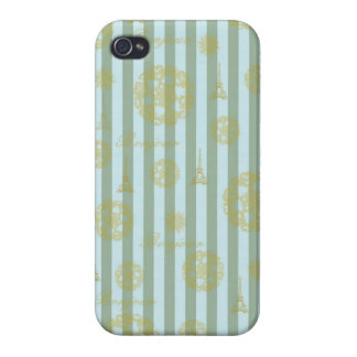 Vintage Teal Stripes Gold French Damask Pattern Case For iPhone 4