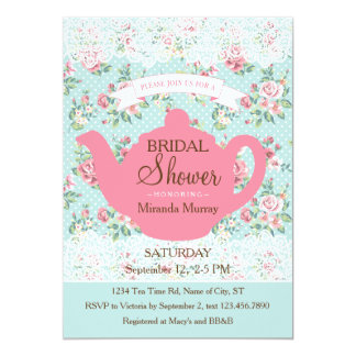 Vintage Teapot with Roses and Lace Border 13 Cm X 18 Cm Invitation Card