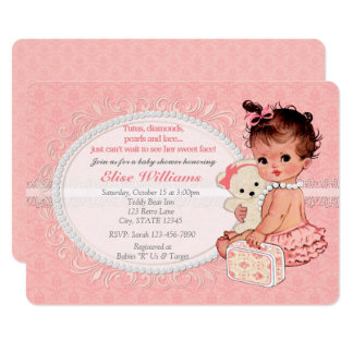 Vintage Teddy Bear Girls Baby Shower Invitations 3