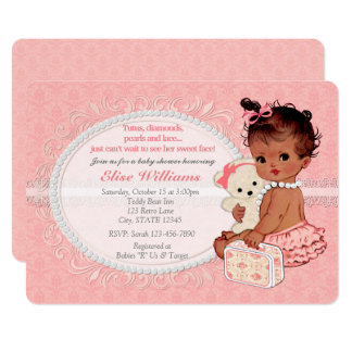 Vintage Teddy Bear Girls Baby Shower Invitations 4