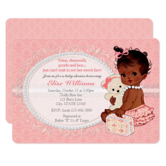 Vintage Teddy Bear Girls Baby Shower Invitations 5