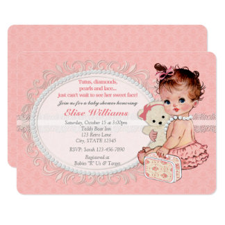 Vintage TeddyBear Girls Baby Shower Invitations