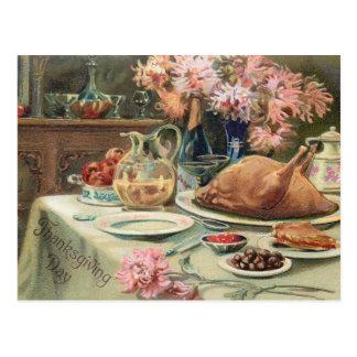 Vintage Thanksgiving Feast Postcard