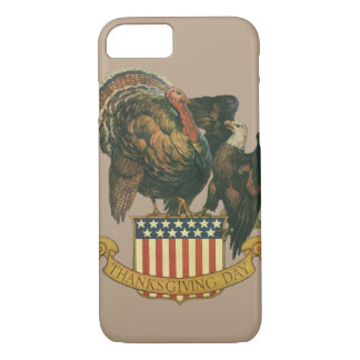 Vintage Thanksgiving Turkey and Eagle with Flag iPhone 8/7 Case