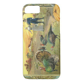 Vintage Thanksgiving with Turkeys and Pilgrims iPhone 8/7 Case