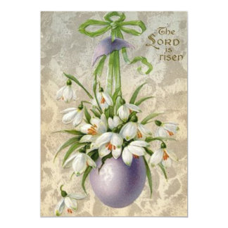 Vintage The Lord Has Risen Easter Egg Cross Easter 13 Cm X 18 Cm Invitation Card