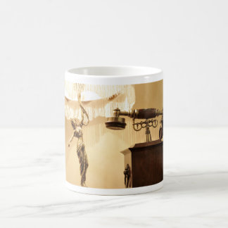 Vintage theme with antique lampshade and retro tel coffee mug