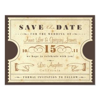 Vintage Ticket Save the Date 11 Cm X 14 Cm Invitation Card