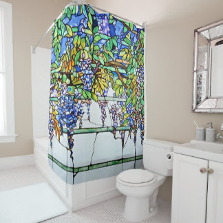 Vintage Tiffany Stained Glass Wisteria Floral Art Shower Curtain
