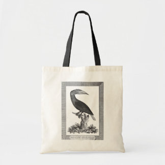 Vintage toucan bird etching tote bag