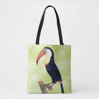 Vintage Toucan Illustration on Green Tote Bag