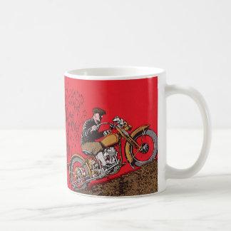Vintage Transportation, Antique Motorcycle Rider Coffee Mug