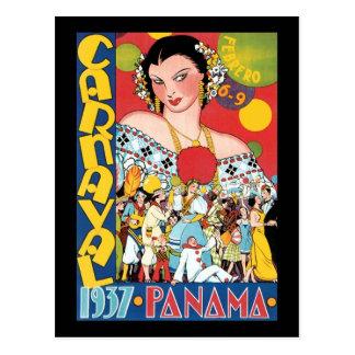 Vintage Travel 1937 Panama Carnival Party Woman Postcard