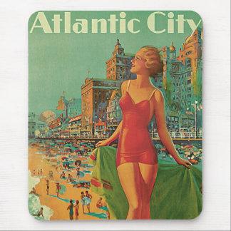 Vintage Travel, Atlantic City Resort Beach Blonde Mouse Pad