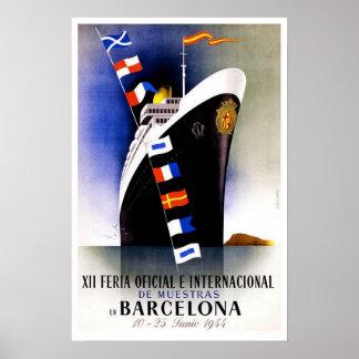Vintage travel,Barcelona International Fair Poster