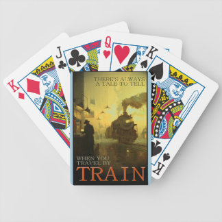 Vintage Travel By Train Bicycle Playing Cards