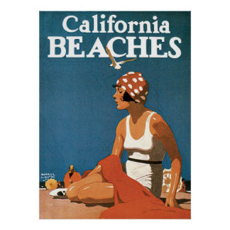 Vintage Travel California Beaches America Poster