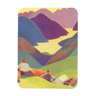 Vintage Travel, Family Picnic, Mountain Vacation Magnet