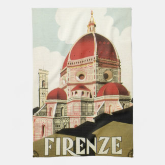 Vintage Travel Florence Firenze Italy Church Duomo Tea Towels