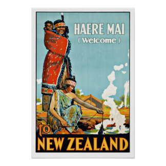 Vintage Travel Haere Mai to New Zealand Poster