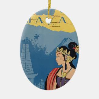 Vintage Travel Java Indonesia Christmas Ornament
