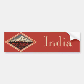 Vintage Travel, Mount Everest, Darjeeling India Bumper Sticker