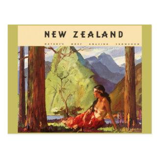 Vintage Travel, New Zealand Landscape Native Woman Postcard
