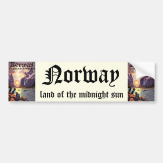 Vintage Travel, Norway Fjord Land of Midnight Sun Bumper Sticker