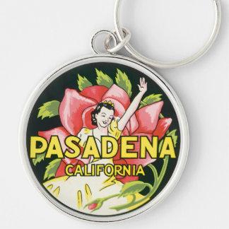 Vintage Travel, Pasadena California, Lady and Rose Key Ring