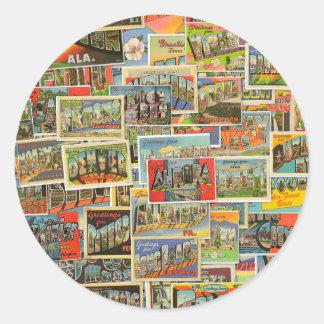 Vintage Travel Postcards Collage Stickers