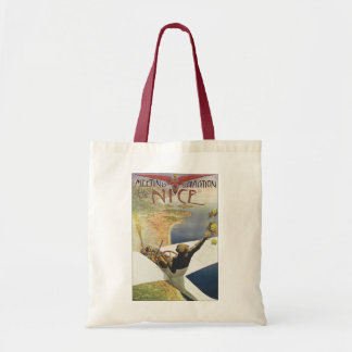 Vintage Travel Poster, Airplane over Nice France Tote Bag