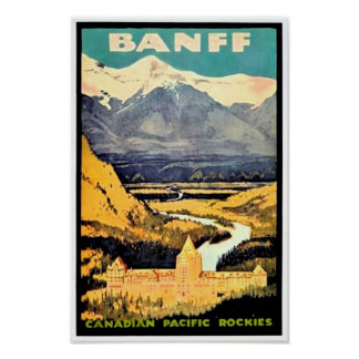 Vintage Travel Poster Banff Canadian Rockies Posters