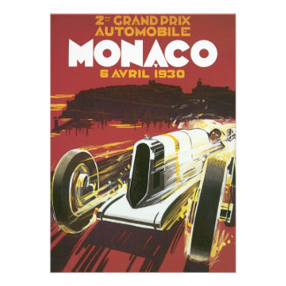 Vintage Travel Poster Monaco Grand Prix Auto Race Invitation